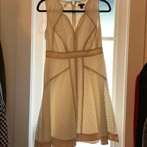 White Ann Taylor lace dress with blush piping